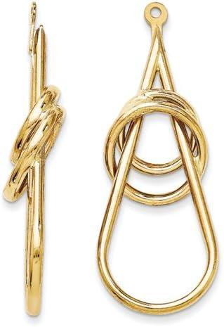 14K Yellow Gold Polished Fancy Teardrop Earring Jackets