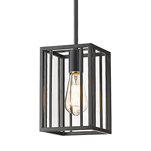 Osimir Farmhouse Pendant Light Fixtures, Black Pendant Lighting for Kitchen Island with Clear Glass, Industrial Lighting Fixture for Living Room Bedroom Kitchen Farmhouse, CH9182-1