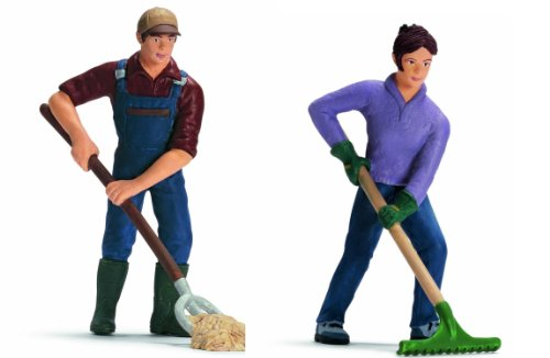 Schleich - Set - 2 Stck : 13451 + 13452 + Bauer/Farmer + Bäuerin /Farmerin ca. 9 cm H - World of Nature - Farm Life People