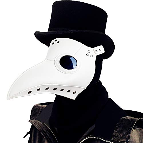 Raxwalker Plague Doctor Bird Mask Long Nose Beak Cosplay Steampunk Halloween Costume Props (White)