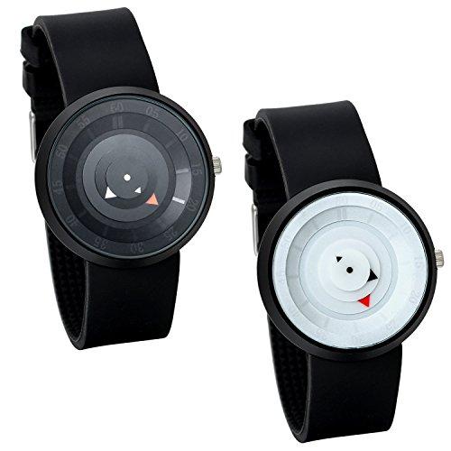 Lancardo Damen Herren Armbanduhr, Quarz Analog Uhr, Drehscheibe Design mit Dreieck Zeiger,Silikon Legierung, Schwarz Weiss