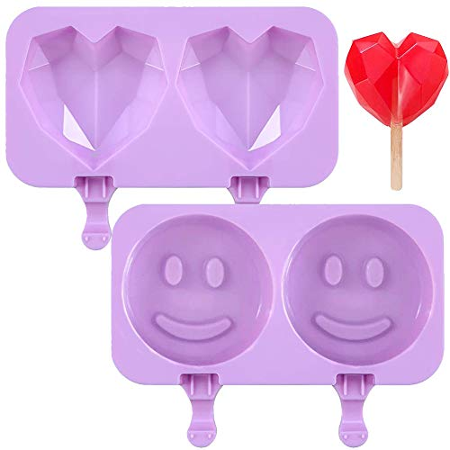 Diamantform Herzform Silikon Kuchenform,QSXX 2 Stücke Herzförmige Silikonform Zum Backen Modisch Und Langlebig Herzförmige Schokoladenformen Für Die Küche Zu Hause Smiley Liebesdiamant