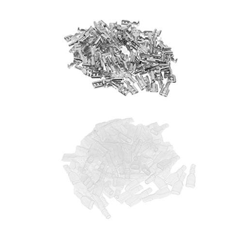 Almencla 100 Sätze 4,8 Mm Flachstecker Crimpverbinder + Isolierhülsen