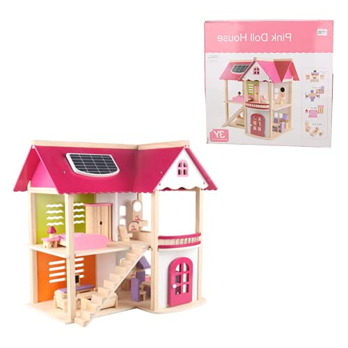 01 Juguete De Casa De Muñecas, Estilo De Madera De Alta Simulación Hermosa Mini Casa De Muñecas Ecológica para Niñas Y Niños(Casa de muñecas Princesa Rosa)