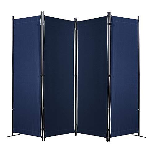 Amazon Brand - Umi Paravent 4 Teilig 170 x 220 cm Raumteiler Trennwand Stellwand Balkon Sichtschutz Faltbar(Blau)