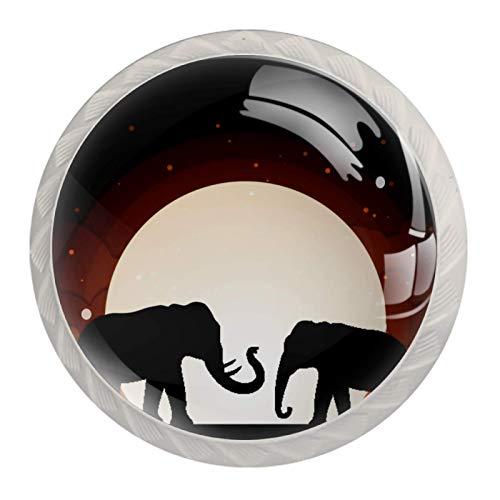 4er Set Möbelknöpfe Kinderzimmer Set Vollmond Elefanten Nacht Süß Schubladenknöpfe Kinderzimmer Personalisierter Druck, einzigartig Möbelknäufe 3.5x2.8cm
