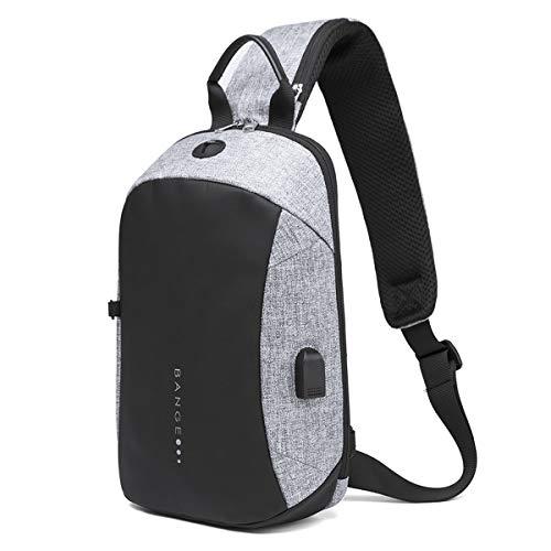 TUKIS Herren Brusttasche Anti-Diebstahl Brustbeutel Sling Rucksack Wasserdicht Schultertasche Daypack Sporttasche mit USB-Port und Isolierfach
