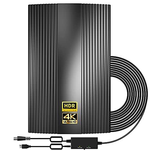 2021 Más Reciente Antena TV HD, Antena HD Interiores/Exteriores Amplificada Rango de 300KM-Soporte TDT 4K 1080P VHF UHF Recepción de 360 °-con Amplificador Inteligente de señal/Cable coaxial de 10M