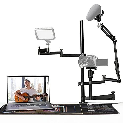 Streaming Studio Desktop Stand Setup mit Mikrofonarm, kompatibel mit DSLR-Kameras, Mikrofon und Videoleuchte für Live-Streaming, YouTube, Tiktok, Spiele, kleines Studio und Online-Bildung