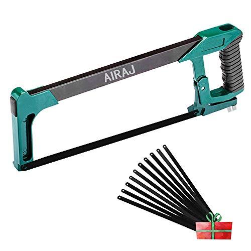 AIRAJ - Marco para sierra de corona de 12 pulgadas con 10 hojas de sierra de carpintería, torsión ajustable de alta tensión, dos ángulos de sierra (45°/90°)