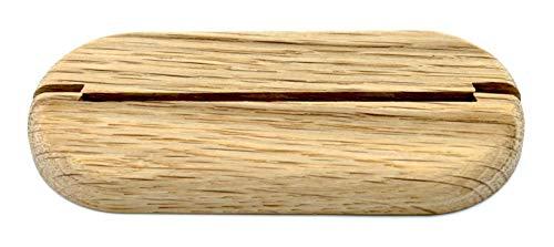 3 Stück Doppel-Rosette für Heizungsrohre, ohne Lochung, zweigeteilt – zum Zusammenstecken zur nachträglichen Montage, Echtholz, Abdeckung für Heizungsrohre, Heizung, Holz (Eiche (roh))