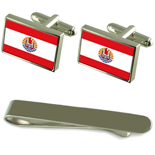 Select Gifts Französisch-polynesien Flagge Silber Manschettenknöpfe Krawatten Geschenkset mit Gravur
