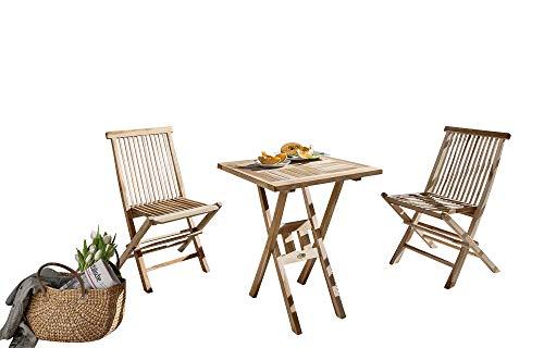 SAM 3tlg. Balkongruppe Square, Gartengruppe aus 1 x Tisch + 2 x Klappstuhl Menorca