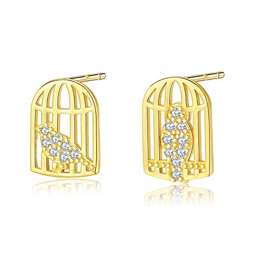 ZHWM Pendientes De clip Aros 18K Gold Color Caged Bird Earrings For Women Exquisite Cute 925 Silver Sterling Small Earrings Jewelry Women Dangle Earrings 1 Pair