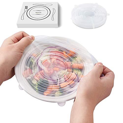 シリコンラップ 6枚セット シリコンリッド スタッシャー シリコン蓋 食品保存ラップ 耐冷 耐熱 貯蔵 再利用可能 -40~230℃温度対応 食器洗い機/電子レンジ/オーブン/冷蔵庫などで利用可能 マグカップカバー