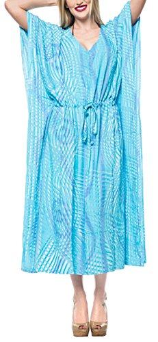 LA LEELA Mujeres Caftán Rayón túnica Tie Dye Kimono Libre tamaño Largo Maxi Vestido de Fiesta para Loungewear Vacaciones Ropa de Dormir Playa Todos los días Cubrir Vestidos Turquesa_F674
