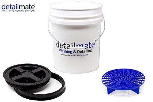 detailmate Profi Set Auto Reinigung GritGuard: Wasch Eimer 5 GAL (ca. 20 Liter) / Gamma Seal Eimerdeckel schwarz/Einsatz blau