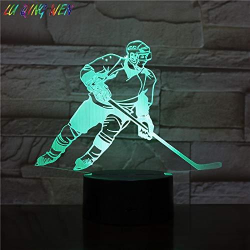 Kinder geführt Nachtlicht Eishockeyspieler Action Sport Figur Raumdekoration Tischlampe Jungen Schlafzimmer Tisch 3D Tischlampe Kinder