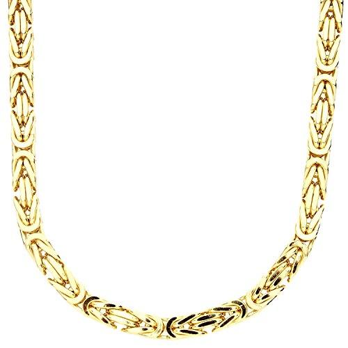 .iced-out. Sterling 925er Silber Königskette - BYZANTIN 6x6mm Gold 50cm