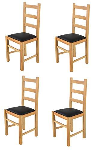 Tommychairs - Set 4 sedie modello Rustica per cucina bar e sala da pranzo, robusta struttura in legno di faggio color naturale e seduta rivestita in pelle artificiale colore nero