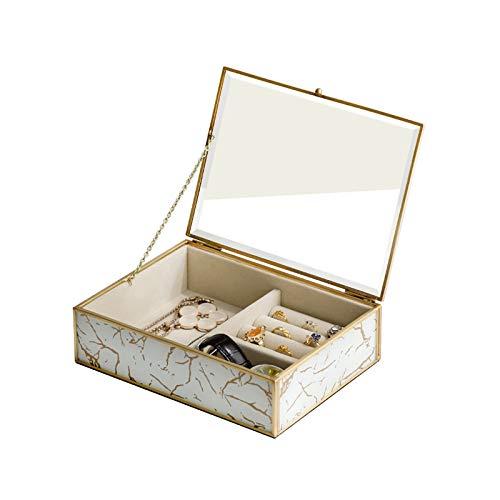 CHICAI Caja de joyería de cristal transparente organizador de terciopelo aspecto mármol y marco chapado en oro para pendientes, collar anillo y pulsera, caja de almacenamiento de joyería para mujer