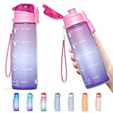 Y&3 32oz Motivational Fitness Sports Water Bottle With Time Marker, BPA Free Tritan Plastic, Leakproof Flip Top, For Gym, Outdoor, Office Work (Pink/Purple Gradient, 32oz)