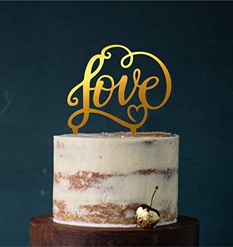 Manschin-Laserdesign Cake Topper, Tortenstecker, Tortefigur Acryl, Tortenständer - Farbwahl - Hochzeit Hochzeitstorte Love (Spiegel Gold (Einseitig)) Art.Nr. 5000