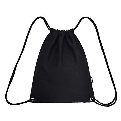 Leapop Unisex Turnbeutel Segeltuch Sporttaschen Gymsack, Hipster Drucken Pattern Beutel Sportbeutel Tasche Tüte Rucksack mit Innentasche (schwarz + schwarz)