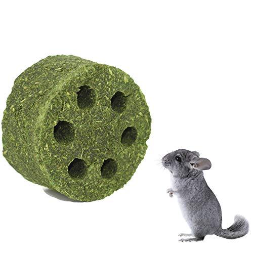 ZLLOO Juguetes para Masticar Conejos Bocadillos para Mascotas Pastel de Pasto Natural para Chinchillas Hámsters Cobayas (Pequeño)