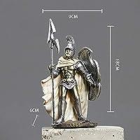 古代ローマの兵士の彫刻鎧戦士の像樹脂アートデスクトップレトロなキャラクターの置物家の装飾-A_Size:11 * 18CM