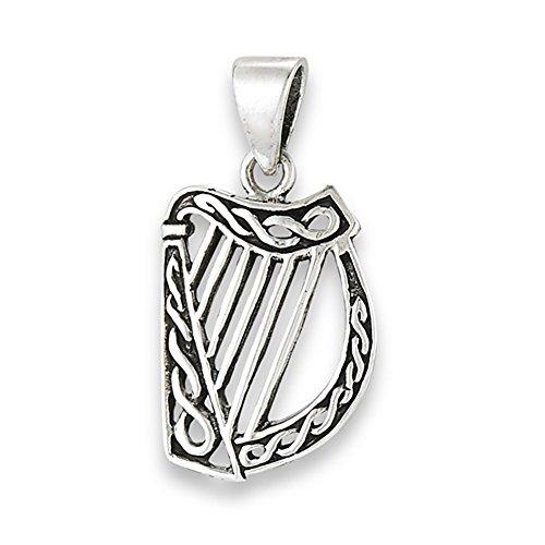Rope Harp Pendant .925 Sterling Silver Instrument Mythology Twisted Celtic Charm