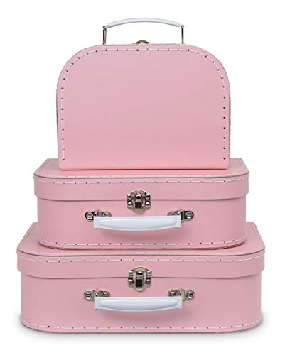 Jewelkeeper Paperboard Suitcases, Set of 3 – Nesting Storage Gift Boxes for Birthday Wedding Easter Nursery Office Decoration Displays Toys Photos – Soft Baby Pink Design