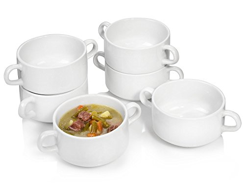 Suppenschüssel Set 6 teilig, Suppenschale für 6 Personen aus Porzellan, Schalen Füllmenge: 250 ml, mit Henkeln, Alltag, Frühstück, besonderes Dinner, klassisches Outdoor Schüssel-Set von Sänger