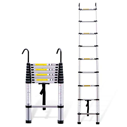 CCLLA Telescoping Extension Ladder Foldable, Lightweight Aluminum Portable Ladder with Hook, For Multi-Use in Home Attic RV Indoor Outdoor (Size : 3.8m/12.5ft)