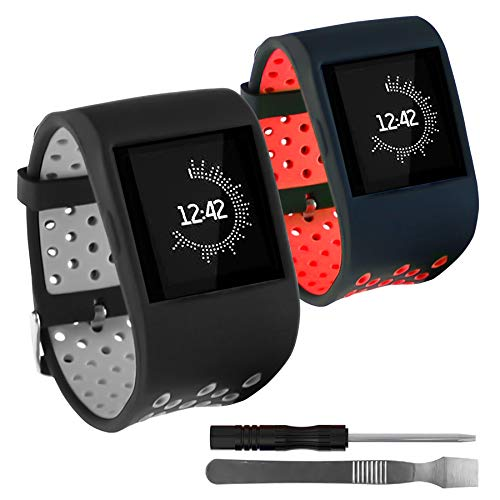 Replacement Compatible for Fitbit Surge Bands,HMJ Band Silicone Watch Bands for Fitbit Surge Smartwatch Fitness Tracker Wristbands with Metal Buckle for Women Men,2PCS