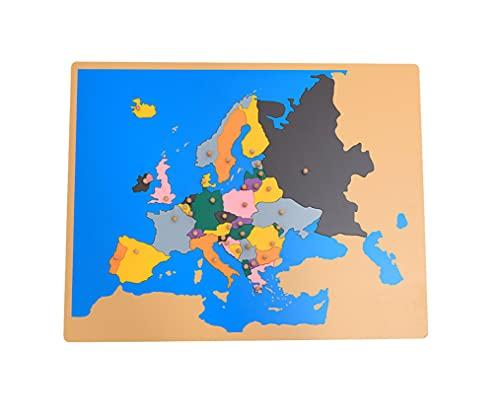 Yx-outdoor Montessori Wooden Europe Panel Puzzle Toys, Bambini in età prescolare Geografici e Scienze culturali Cognizione Prima educazione Sussidi didattici
