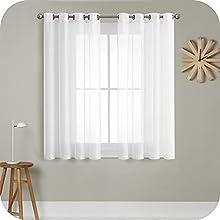 MRTREES Cortina para Ventana Dormitorio Translúcidas Visillos Paneles para Ventanas Sala para Niños Sala Comedor 2 Piezas 140×137cm Blanco