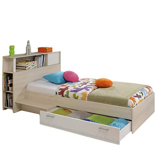 Funktionsbett Charly 90 * 200 cm inkl. Kopfteil(Regal) + Bettkasten + Ablagetisch Akazie beige weiß Jugend Kinderzimmer Kinderbett Bettliege