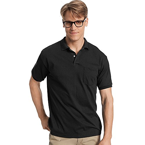 Hanes Cotton-Blend Jersey Men's Polo with Pocket_Black_2XL