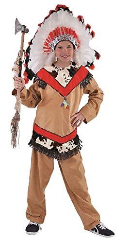 M215004-140 - Disfraz infantil de indio Apachejunge (talla 140), color marrn y rojo
