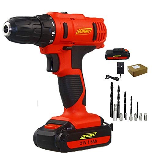 21V Cordless Combi Drill Driver 2 Speed Powerful Screwdriver with 2pcs Li-ion Battery and 12 Accessories
