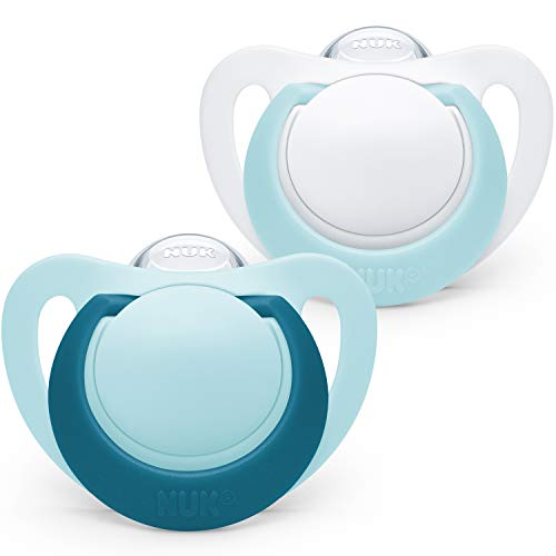 NUK Genius Baby Dummies, 0-6 Months, Silicone, BPA Free, Blue, 2 Count(Designs may vary)