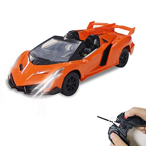 Remote Control Car, Rc Cars with Led Light Orange 1:16 Scale, Sport Toy Cars Model High Speed, RC Toys Car for Kids 4-12 Years Old Boys