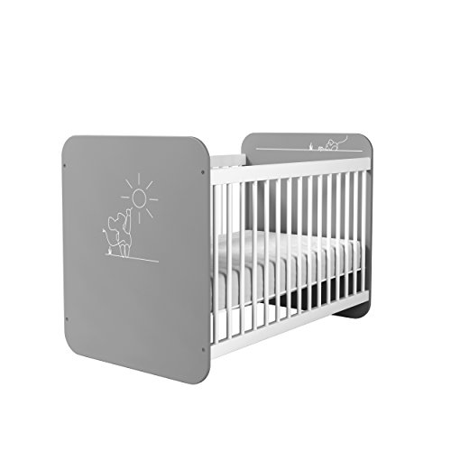 demeyere Baby Bett 60x120 Petite Souris, MDF, grau/weiß, 67 x 123,4 x 90 cm