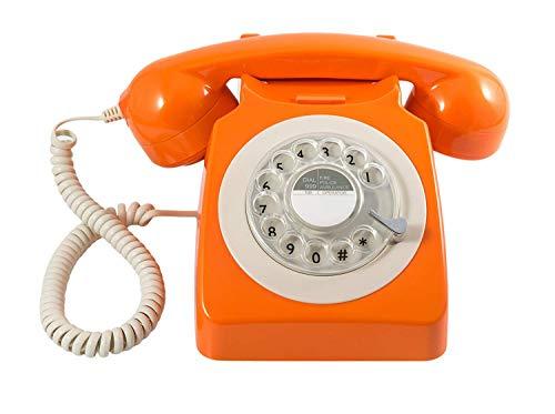GPO 746 Teléfono fijo de disco con estilo retro de los años 70 - Cable en espiral, Timbre auténtico - Naranja