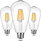 LED Edison Bulb Dimmable 2700K Warm White 6W, ST64 Vintage LED Filament Bulbs 60W Equivalent, Lonmbard E26 Edison Light Bulb for Chandelier Restaurant String Lights,Clear Glass,800LM,3 Pack