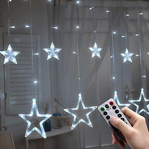 HEITIGN Luces de Cortina de Estrella LED, Luz de Decoración de Ventana Luces de Cadena de Cortina Impermeables Multifuncionales, Luces de Hadas Con Control Remoto, Decoración Starlight, Blanco