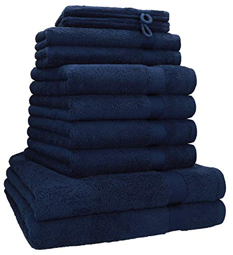 Betz 10-TLG. Handtuch-Set Premium 100% Baumwolle 2 Duschtücher 4 Handtücher 2 Gästetücher 2 Waschhandschuhe Farbe dunkelblau