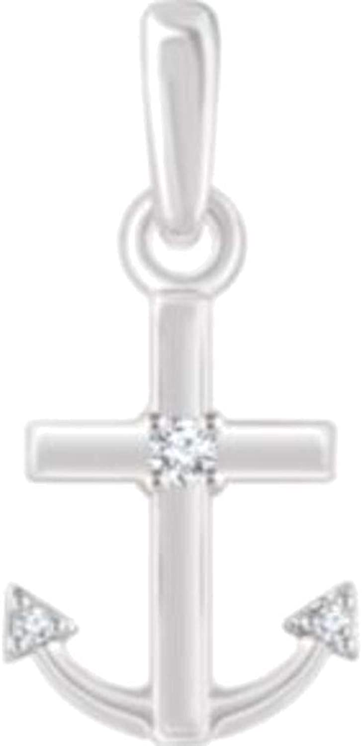 Bonyak Jewelry 14k White gold .03 CTW Diamond Anchor Pendant