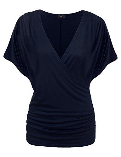 Zeagoo Damen V-Ausschnitt T-shirt Kurzarm Batwing Fledermaus Sommer Shirt Tunika Bluse (EU 40(Herstellergröße:L), Marine)